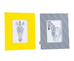 2 Cadres photo CENEFA bois de pin et bois, gris et jaune - 22*27