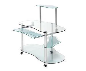 Bureau informatique NET aluminium et verre, gris et transparent - L120