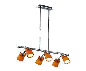 Suspension métal et verre, argenté et orange - L76