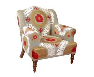 Fauteuil RELAX coton et bois de pin, beige et rouge - L85