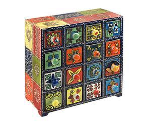 Mini-commode ENDANG bois et céramique, multicolore - 27*27