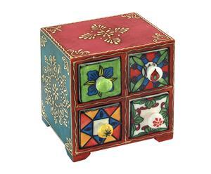 Mini-commode WAWAN bois et céramique, multicolore - 14*14
