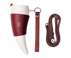 Mug isotherme ORIGINAL cuir, bordeaux et blanc, H : 23 cm