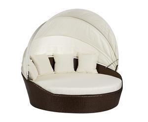 Canapé rond avec ombrelle TEIDE, marron et beige - Ø180