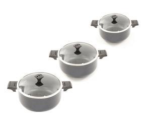 3 Casseroles avec couvercle, céramique - gris