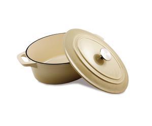 Cocotte ovale fonte, crème – L36