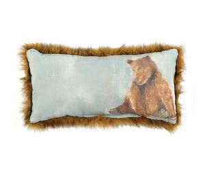 Coussin fourrure ours coton et lin, bleu - 20*40
