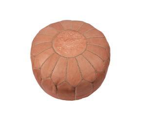 Pouf Marocain, cuir marron clair