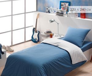 Housse de couette, bleu et blanc - 220*240