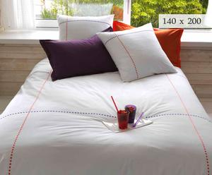 DRAP PLAT, blanc et Orange - 180*290