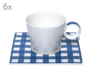 6 Tasses à café, porcelaine - bleu