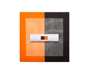 Set de table et serviette assortie, Orange et noir