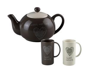 1 Bouilloire et 2 mugs cosy, céramique