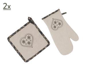 1 Gant et 1 manique Davos Forêt, coton
