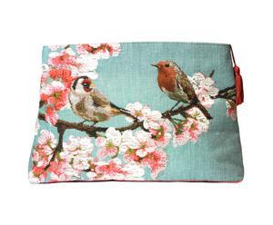 Trousse Jacquard Oiseaux, Turquoise - 25*20