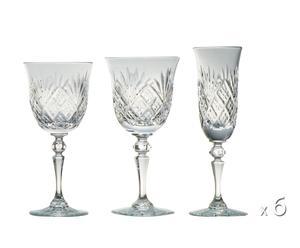 6 Verre à vin, 6 verres à eau et 6 flûtes à champagne Blois, cristal