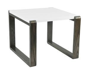 Table bout de canapé Bois, blanc et naturel - L60