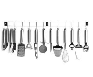 12 accessoires de cuisine, gris chromé