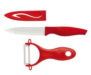 1 couteau et 1 économe, rouge