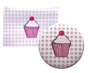 Set Miroir de poche et Pochette STRAWBERRY&CAKE