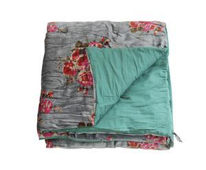 Dessus de lit matelassé Rosy velours, gris - 90*200