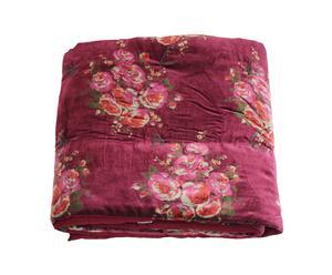 Dessus de lit matelassé Rosy velours, bordeaux - 90*200