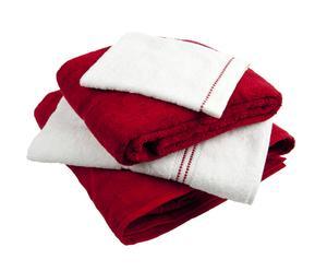 Set de draps de bain COTE D'AZUR, Rouge et Blanc