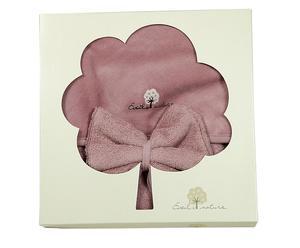 Cape de bain et gant, bois de rose