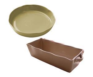 1 Tourtière et 1 plat à cake, céramique - beige