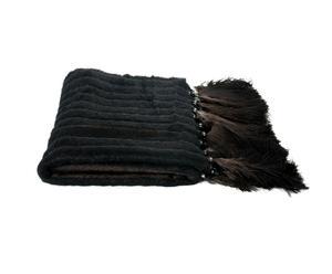 Plaid mohair et mérinos, noir - 110*180