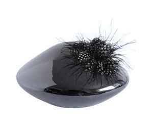 Vase Galet haute couture, noir et gris - H15