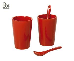 6 mugs et cuillères porcelaine, rouge – H8
