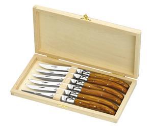 Set de 6 Couteaux LAGUIOLE, Bois d'Olivier
