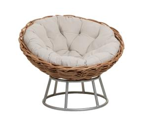 Fauteuil rond rotin et coussin