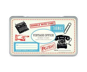 1 Boîte de 12 tampons vintage office, bois