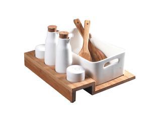 Service à salade, bambou et porcelaine - 9 Pièces