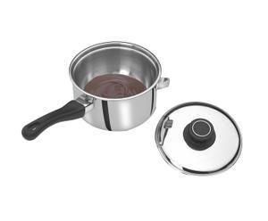 Casserole et couvercle bain-marie induction, inox - Ø16