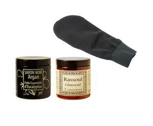 1 Rhassoul, 1 savon noir et 1 gant