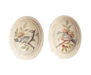 2 Cadres ovale oiseau, bois
