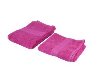 1 Drap de douche et 1 Serviette à cheveux, rose - 140*70 et 100*50