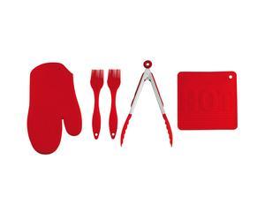 5 Accessoires de cuisine Silicone, Rouge