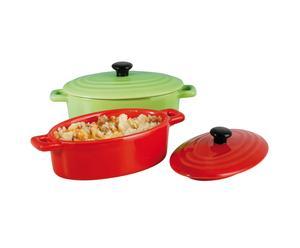 2 Mini-cocottes Céramique, Rouge et vert - L12