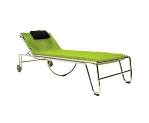 Chaise longue inox, vert - L220