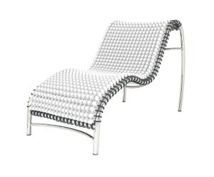 Chaise longue inox, blanc - L113