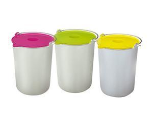 3 Petits pots, inox et plastique - L12