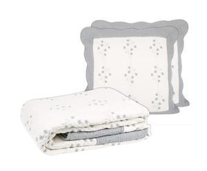 1 Boutis et 2 Taies Coton, Gris perle et blanc - 230*250