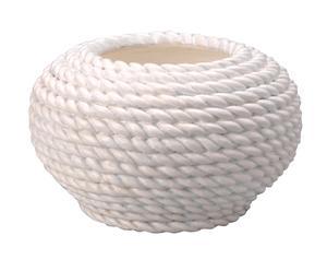 VASE CORDE Terre cuite, Blanc - H20