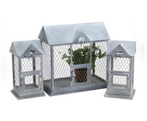 3 Cages maisonnettes Métal, Gris - L20