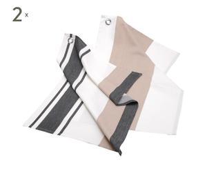 4 Torchons  Coton, Blanc beige et gris - 50*70