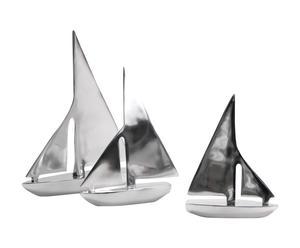 3 Statuettes voiliers, Aluminium - Argent